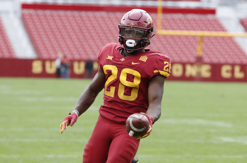 AMES, IA - SEPTEMBER 12: Running back Breece Hall #28 of the Iowa State Cyclones scores a touchdown in the first half half of the play at Jack Trice Stadium on September 12, 2020 in Ames, Iowa. The Louisiana-Lafayette Ragin