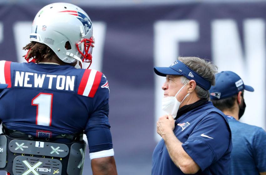 Cam Newton, Bill Belichick, New England Patriots. (Photo by Maddie Meyer/Getty Images)