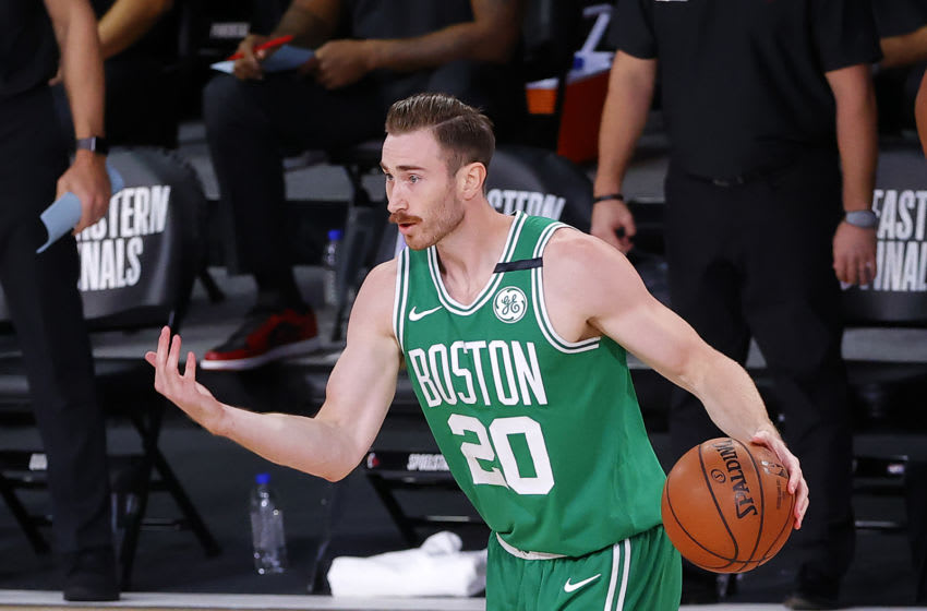 LAKE BUENA VISTA, FLORIDA - SEPTEMBER 19: Gordon Hayward #20 of the Boston Celtics plays after being injured during the first quarter against the Miami Heat in Game Three of the Eastern Conference Finals during the 2020 NBA Playoffs at AdventHealth Arena at the ESPN Wide World Of Sports Complex on September 19, 2020 in Lake Buena Vista, Florida. NOTE TO USER: User expressly acknowledges and agrees that, by downloading and or using this photograph, User is consenting to the terms and conditions of the Getty Images License Agreement. (Photo by Kevin C. Cox/Getty Images)
