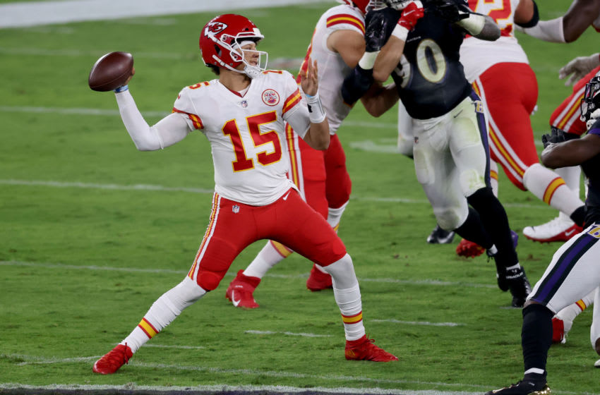 BALTIMORE, MARYLAND - SEPTEMBER 28: Quarterback Patrick Mahomes #15 of the Kansas City Chiefs passes against the Baltimore Ravens at M&T Bank Stadium on September 28, 2020 in Baltimore, Maryland. (Photo by Rob Carr/Getty Images)