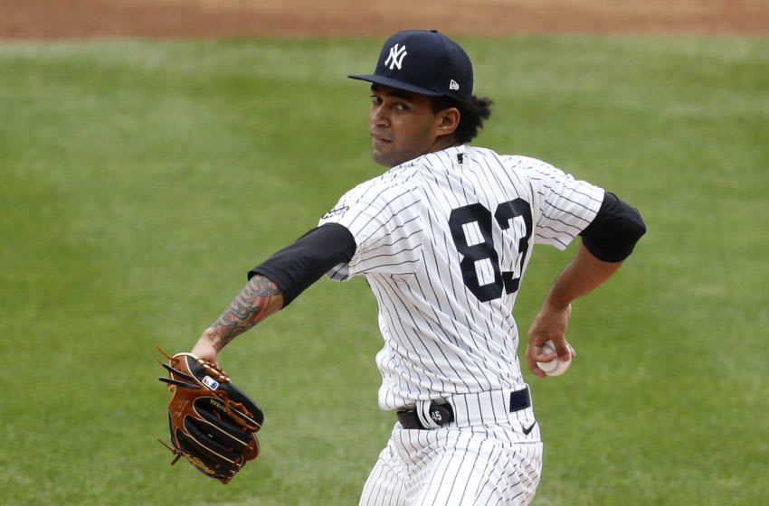 NEW YORK, NEW YORK - SEPTEMBER 26: (NEW YORK DAILIES OUT) Deivi Garcia #83 of the New York Yankees in action against the Miami Marlins at Yankee Stadium on September 26, 2020 in New York City. The Yankees defeated the Marlins 11-4. (Photo by Jim McIsaac/Getty Images)