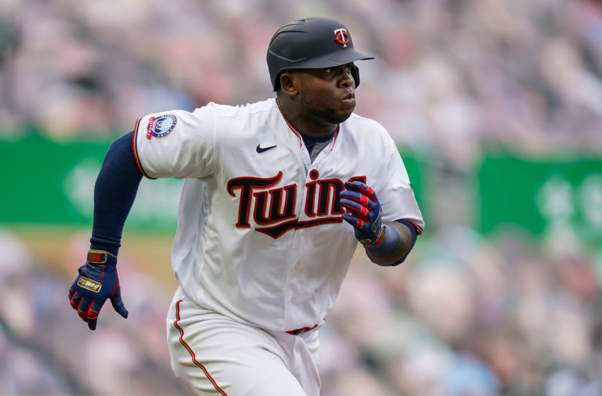 MINNEAPOLIS, MN - SEPTEMBER 29: Miguel Sano #22 of the Minnesota Twins runs during game one of the Wild Card Series between the Minnesota Twins and Houston Astros on September 29, 2020 at Target Field in Minneapolis, Minnesota. (Photo by Brace Hemmelgarn/Minnesota Twins/Getty Images)