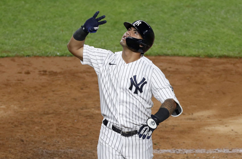 NEW YORK, NEW YORK - SEPTEMBER 17: (NEW YORK DAILIES OUT) Gleyber Torres #25 of the New York Yankees celebrates his fourth inning home run against the Toronto Blue Jays at Yankee Stadium on September 17, 2020 in New York City. The Yankees defeated the Blue Jays 10-7. (Photo by Jim McIsaac/Getty Images)