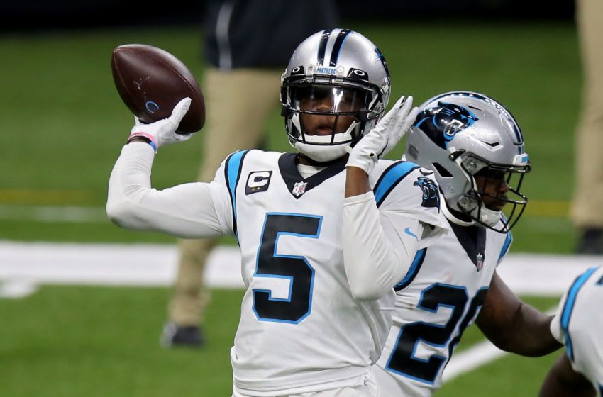 NEW ORLEANS, LOUISIANA - OCTOBER 25: Teddy Bridgewater #5 of the Carolina Panthers warms up before the game against the New Orleans Saints at the Mercedes-Benz Superdome on October 25, 2020 in New Orleans, Louisiana. (Photo by Jonathan Bachman/Getty Images)