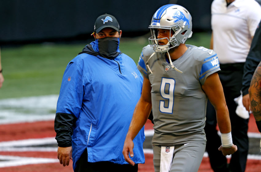 ATLANTA, GEORGIA - OCTOBER 25: Head coach Matt Patricia and Matthew Stafford #9 of the Detroit Lions look on during warmups prior to the game against the Atlanta Falcons at Mercedes-Benz Stadium on October 25, 2020 in Atlanta, Georgia. (Photo by Kevin C. Cox/Getty Images)