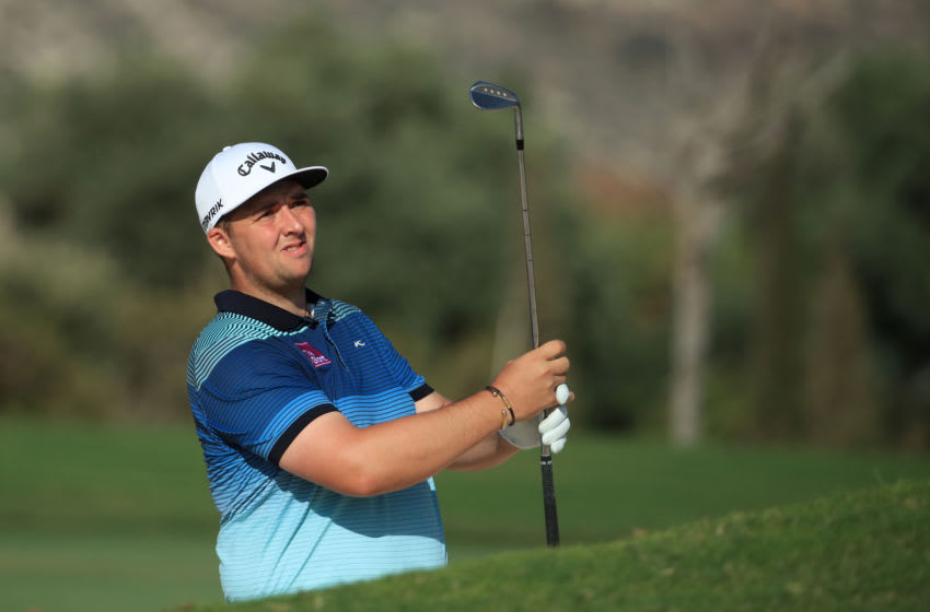 PAPHOS, CYPRUS - OCTOBER 29: Marcus Armitage of England takes his second shot on the 18th hole during Day one of the Aphrodite Hills Cyprus Open at Aphrodite Hills Resort on October 29, 2020 in Paphos, Cyprus. (Photo by Andrew Redington/Getty Images)