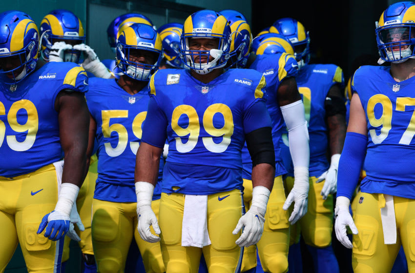 MIAMI GARDENS, FLORIDA - NOVEMBER 01: Aaron Donald #99 of the Los Angeles Rams waits to take the field against the Miami Dolphins during their NFL game at Hard Rock Stadium on November 01, 2020 in Miami Gardens, Florida. (Photo by Mark Brown/Getty Images)