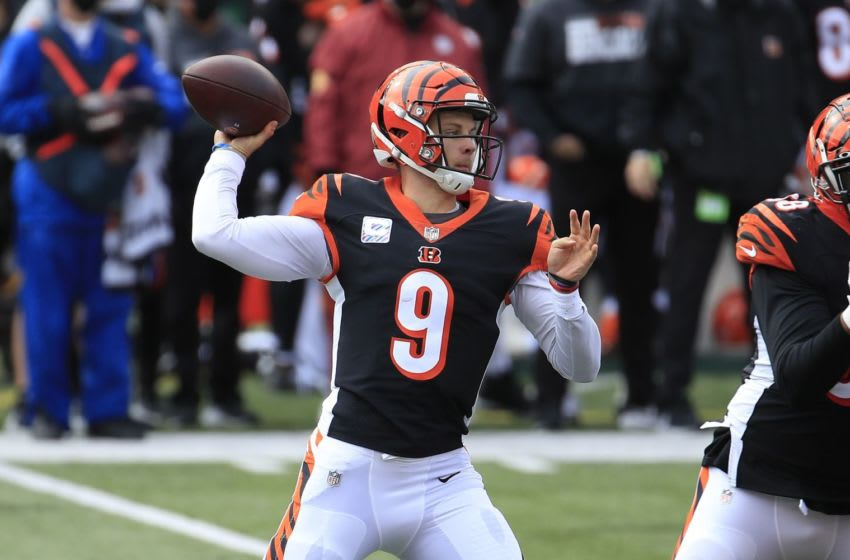 CINCINNATI, OHIO - OCTOBER 25: Joe Burrow #9 of the Cincinnati Bengals throws a pass against the Cleveland Browns at Paul Brown Stadium on October 25, 2020 in Cincinnati, Ohio. (Photo by Andy Lyons/Getty Images)