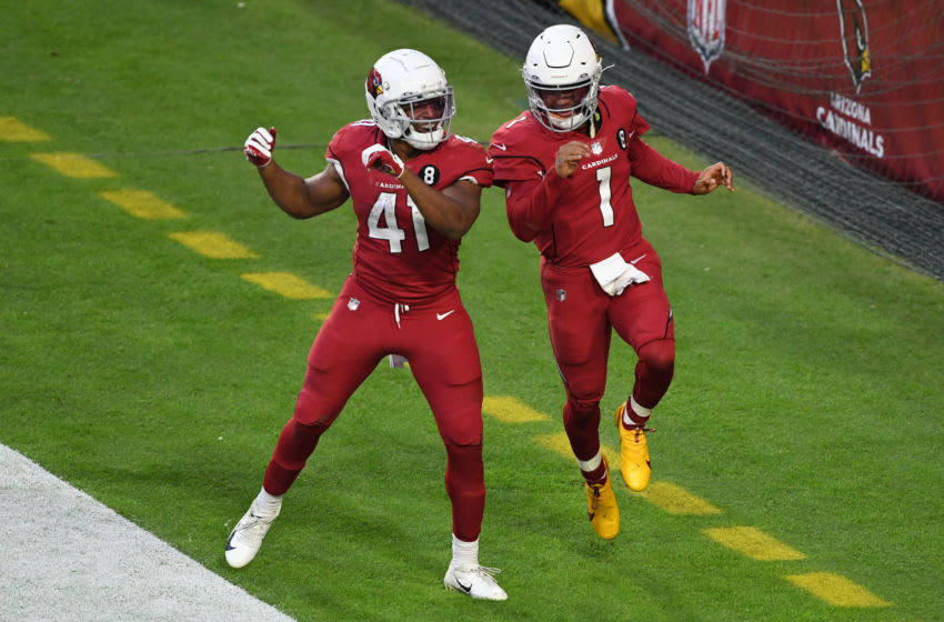 GLENDALE, ARIZONA - NOVEMBER 15: Running back Kenyan Drake #41 of the Arizona Cardinals celebrates with quarterback Kyler Murray #1 after Murray's touchdown during the second half against the Buffalo Bills at State Farm Stadium on November 15, 2020 in Glendale, Arizona. (Photo by Norm Hall/Getty Images)