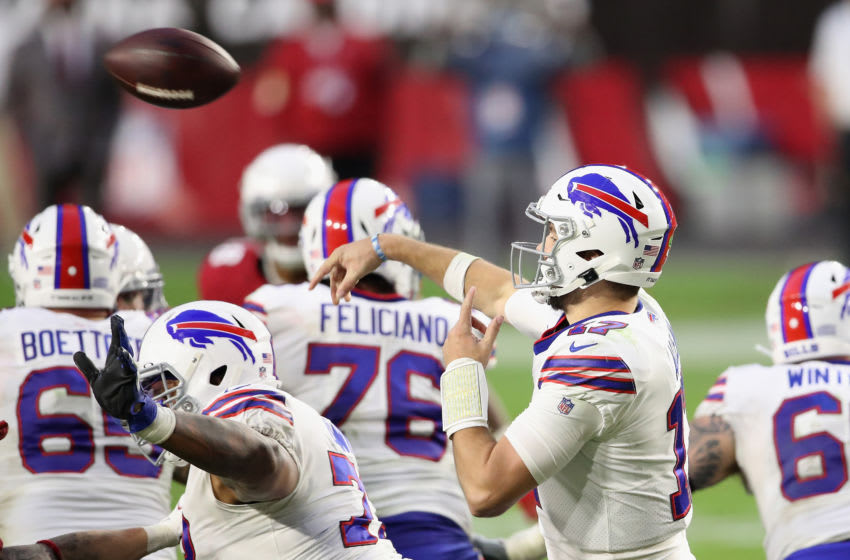 GLENDALE, ARIZONA - NOVEMBER 15: Quarterback Josh Allen #17 of the Buffalo Bills throws a pass during the NFL game against the Buffalo Bills at State Farm Stadium on November 15, 2020 in Glendale, Arizona. The Cardinals defeated the Bills 32-30. (Photo by Christian Petersen/Getty Images)