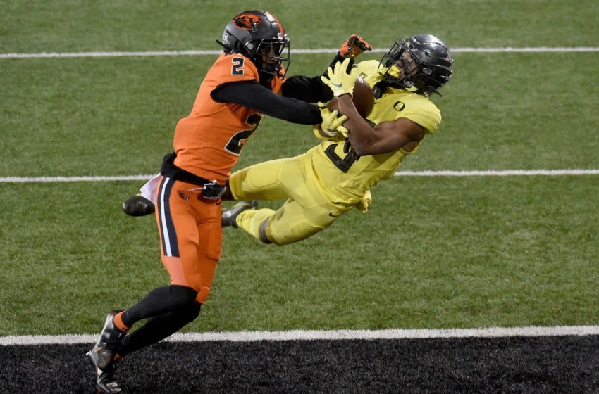 CORVALLIS, OREGON - NOVEMBER 27: Defensive back Nahshon Wright #2 of the Oregon State Beavers breaks up a pass intended for Wide receiver Johnny Johnson III #3 of the Oregon Ducks during the second half of the game at Reser Stadium on November 27, 2020 in Corvallis, Oregon. Oregon State won 41-38. (Photo by Steve Dykes/Getty Images)