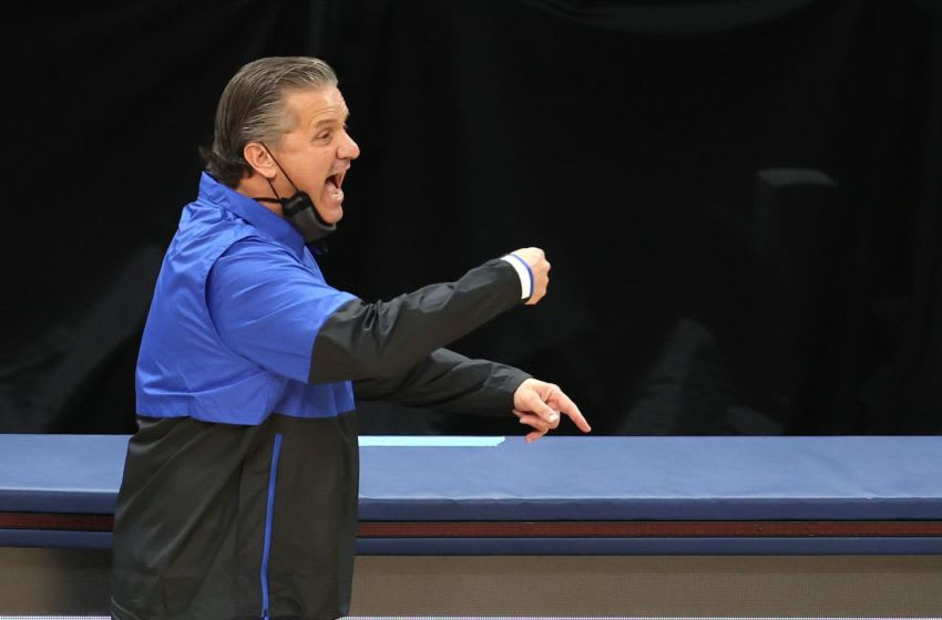 INDIANAPOLIS, INDIANA - DECEMBER 01: John Calipari the head coach of the Kentucky Wildcats gives instructions to his team against the Kansas Jayhawks in the State Farm Champions Classic at Bankers Life Fieldhouse on December 01, 2020 in Indianapolis, Indiana. (Photo by Andy Lyons/Getty Images)