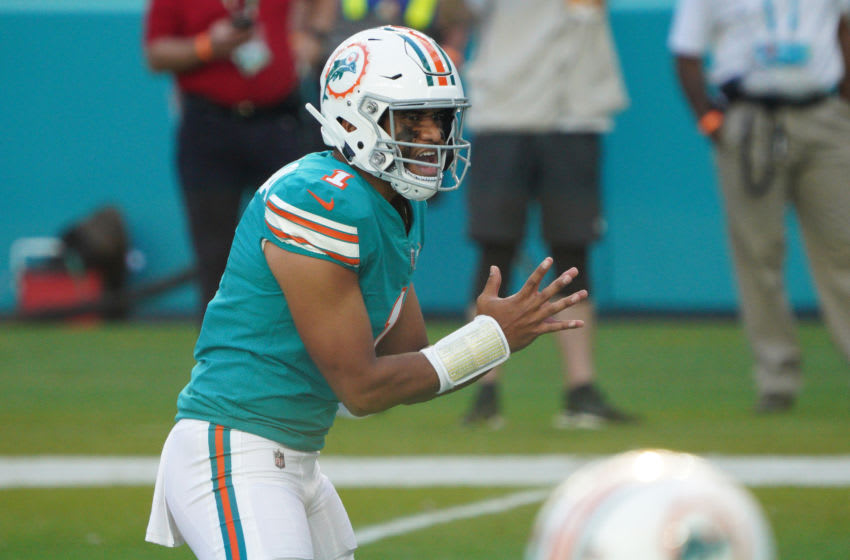 MIAMI GARDENS, FLORIDA - DECEMBER 13: Tua Tagovailoa #1 of the Miami Dolphins in action against the Kansas City Chiefs at Hard Rock Stadium on December 13, 2020 in Miami Gardens, Florida. (Photo by Mark Brown/Getty Images)