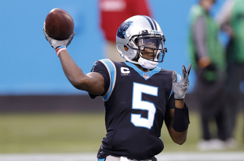 CHARLOTTE, NORTH CAROLINA - JANUARY 03: Quarterback Teddy Bridgewater #5 of the Carolina Panthers looks to pass during the first quarter of their game against the New Orleans Saints at Bank of America Stadium on January 03, 2021 in Charlotte, North Carolina. (Photo by Jared C. Tilton/Getty Images)