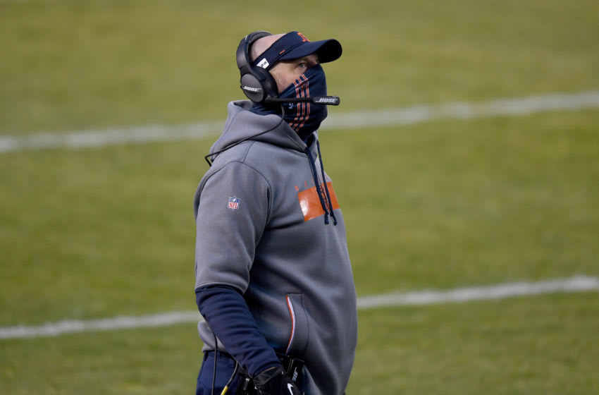 CHICAGO, ILLINOIS - JANUARY 03: Head coach Matt Nagy of the Chicago Bears looks on from the sidelines against the Green Bay Packers during the first quarter in the game at Soldier Field on January 03, 2021 in Chicago, Illinois. (Photo by Quinn Harris/Getty Images)