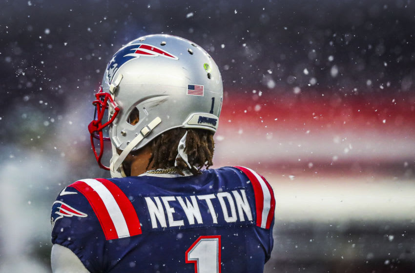 FOXBOROUGH, MA - JANUARY 03: Cam Newton #1 of the New England Patriots looks on during a game against the New York Jets at Gillette Stadium on January 3, 2021 in Foxborough, Massachusetts. (Photo by Adam Glanzman/Getty Images)
