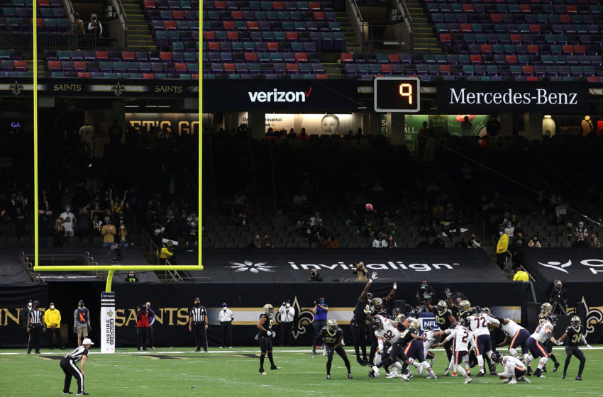 NEW ORLEANS, LOUISIANA - JANUARY 10: Cairo Santos #2 of the Chicago Bears kicks a field goal during the second quarter against the New Orleans Saints in the NFC Wild Card Playoff game at Mercedes Benz Superdome on January 10, 2021 in New Orleans, Louisiana. (Photo by Chris Graythen/Getty Images)