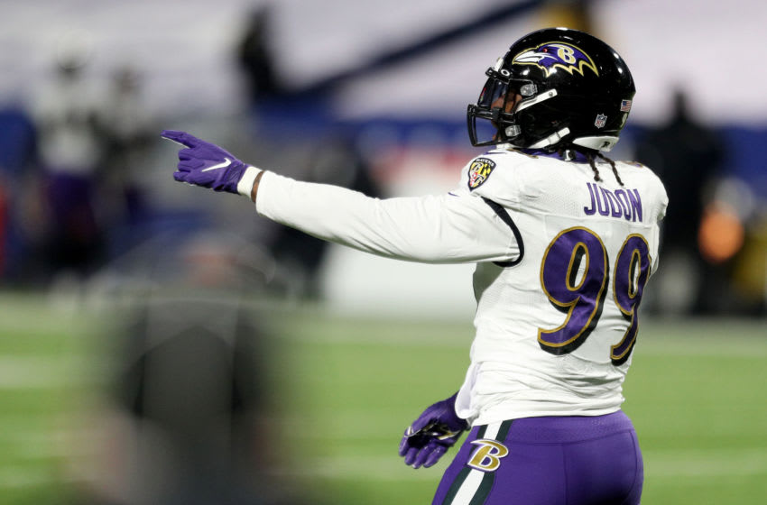 ORCHARD PARK, NEW YORK - JANUARY 16: Matt Judon #99 of the Baltimore Ravens signals during the fourth quarter of an AFC Divisional Playoff game against the Buffalo Bills at Bills Stadium on January 16, 2021 in Orchard Park, New York. (Photo by Bryan Bennett/Getty Images)