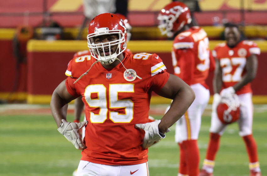 KANSAS CITY, MISSOURI - JANUARY 24: Chris Jones #95 of the Kansas City Chiefs reacts in the fourth quarter during the AFC Championship game against the Buffalo Bills at Arrowhead Stadium on January 24, 2021 in Kansas City, Missouri. (Photo by Jamie Squire/Getty Images)