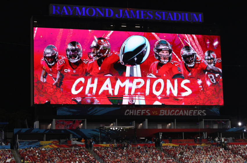 TAMPA, FLORIDA - FEBRUARY 07: A detailed view of the scoreboard after the Tampa Bay Buccaneers defeated the Kansas City Chiefs in Super Bowl LV at Raymond James Stadium on February 07, 2021 in Tampa, Florida. The Buccaneers defeated the Chiefs, 31-9. (Photo by Patrick Smith/Getty Images)