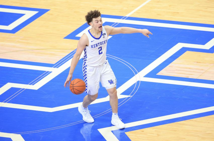 LEXINGTON, KENTUCKY - FEBRUARY 09: Devin Askew #2 of the Kentucky Wildcats dribbles the ball against the Arkansas Razorbacks at Rupp Arena on February 09, 2021 in Lexington, Kentucky. (Photo by Andy Lyons/Getty Images)