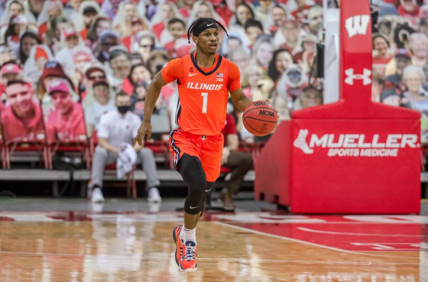 MADISON, WISCONSIN - FEBRUARY 27: Trent Frazier #1 of the Illinois Fighting Illini dribbles the ball in the first half against the Wisconsin Badgers at the Kohl Center on February 27, 2021 in Madison, Wisconsin. (Photo by Dylan Buell/Getty Images)
