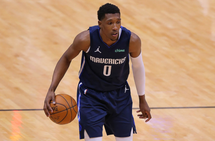 NEW ORLEANS, LOUISIANA - MARCH 27: Josh Richardson #0 of the Dallas Mavericks drives with the ball against the New Orleans Pelicans during a game at the Smoothie King Center on March 27, 2021 in New Orleans, Louisiana. NOTE TO USER: User expressly acknowledges and agrees that, by downloading and or using this Photograph, user is consenting to the terms and conditions of the Getty Images License Agreement. (Photo by Jonathan Bachman/Getty Images)