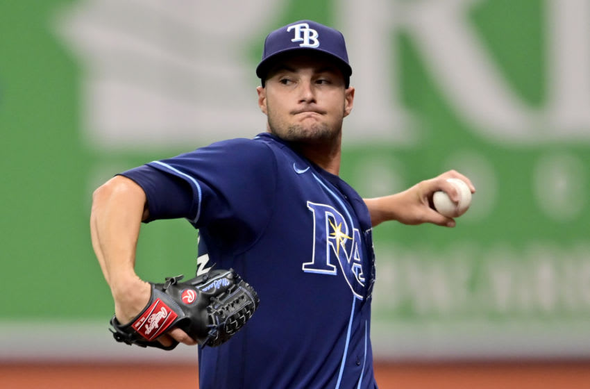 ST PETERSBURG, FLORIDA - APRIL 29: Shane McClanahan #62 of the Tampa Bay Rays warms up prior to his regular season Major League debut against Oakland Athletics at Tropicana Field on April 29, 2021 in St Petersburg, Florida. (Photo by Douglas P. DeFelice/Getty Images)