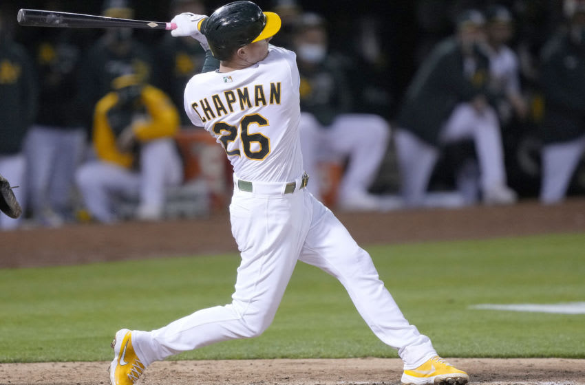 OAKLAND, CALIFORNIA - MAY 18: Matt Chapman #26 of the Oakland Athletics bats against the Houston Astros in the six inning at RingCentral Coliseum on May 18, 2021 in Oakland, California. (Photo by Thearon W. Henderson/Getty Images)