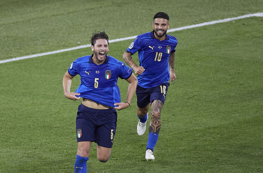 ROME, ITALY - JUNE 16: Manuel Locatellii of Italy celebrates after scoring his team's first goal during the UEFA Euro 2020 Championship Group A match between Italy and Switzerland at Olimpico Stadium on June 16, 2021 in Rome, Italy. (Photo by Emmanuele Ciancaglini/Quality Sport Images/Getty Images)