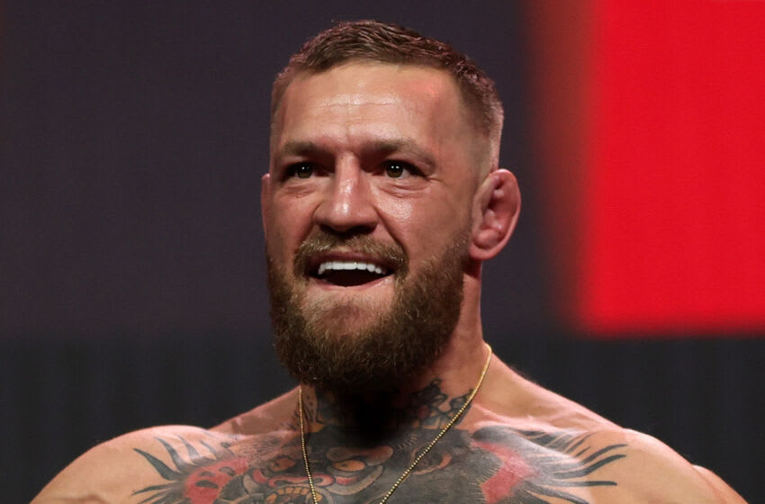 LAS VEGAS, NEVADA - JULY 09: Conor McGregor poses during a ceremonial weigh in for UFC 264 at T-Mobile Arena on July 09, 2021 in Las Vegas, Nevada. (Photo by Stacy Revere/Getty Images)