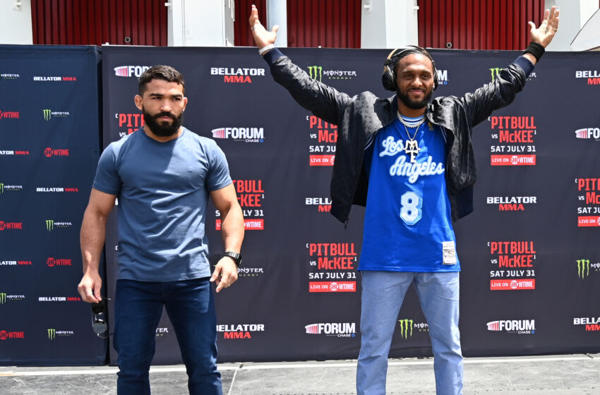 INGLEWOOD, CA - JULY 22: Patricio Pitbull, left, and AJ McKee stand for a photo for their upcoming Featherweight World Grand Prix Final at Bellator MMA 163 at The Forum on July 22, 2021 in Inglewood, California. The Featherweight World Grand Prix Final will be held on July 31, 2021. (Photo by Jayne Kamin-Oncea/Getty Images)