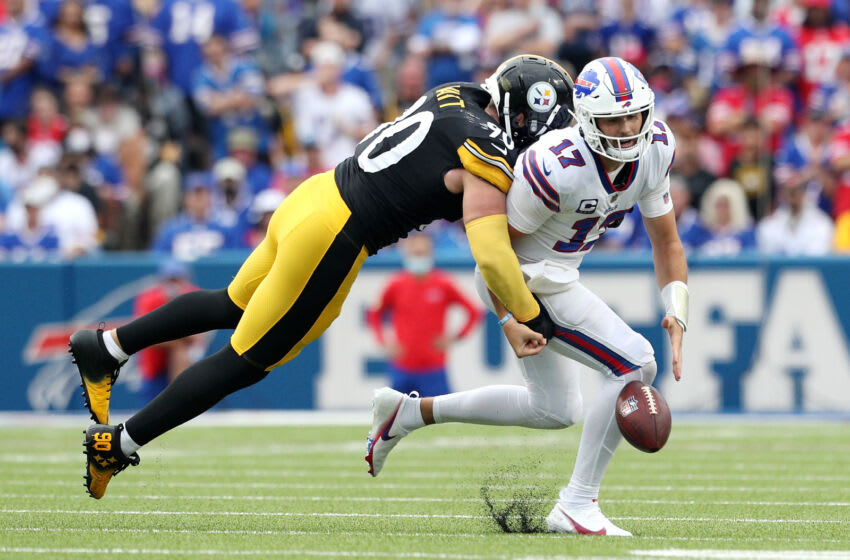 ORCHARD PARK, NEW YORK - SEPTEMBER 12: T.J. Watt #90 of the Pittsburgh Steelers forces Josh Allen #17 of the Buffalo Bills to fumble during the second quarter at Highmark Stadium on September 12, 2021 in Orchard Park, New York. (Photo by Bryan M. Bennett/Getty Images)