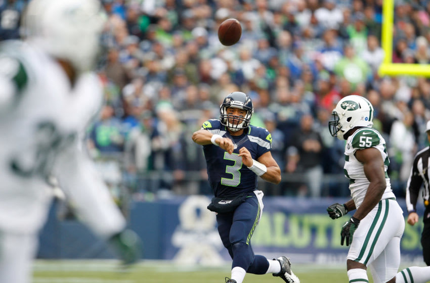 Quarterback Russell Wilson #3 of the Seattle Seahawks (Photo by Kevin Casey/Getty Images)