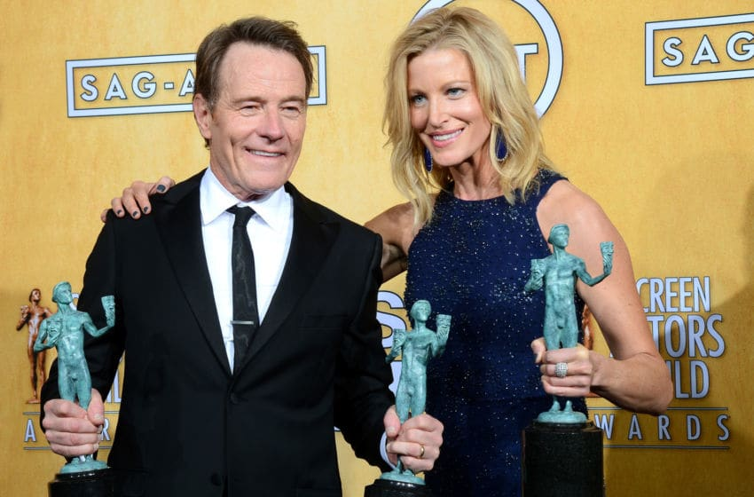 LOS ANGELES, CA - JANUARY 18: Actors Bryan Cranston and Anna Gunn, winners of the Outstanding Performance by an Ensemble in a Drama Series award for 'Breaking Bad,' pose in the press room during the 20th Annual Screen Actors Guild Awards at The Shrine Auditorium on January 18, 2014 in Los Angeles, California. (Photo by Ethan Miller/Getty Images)
