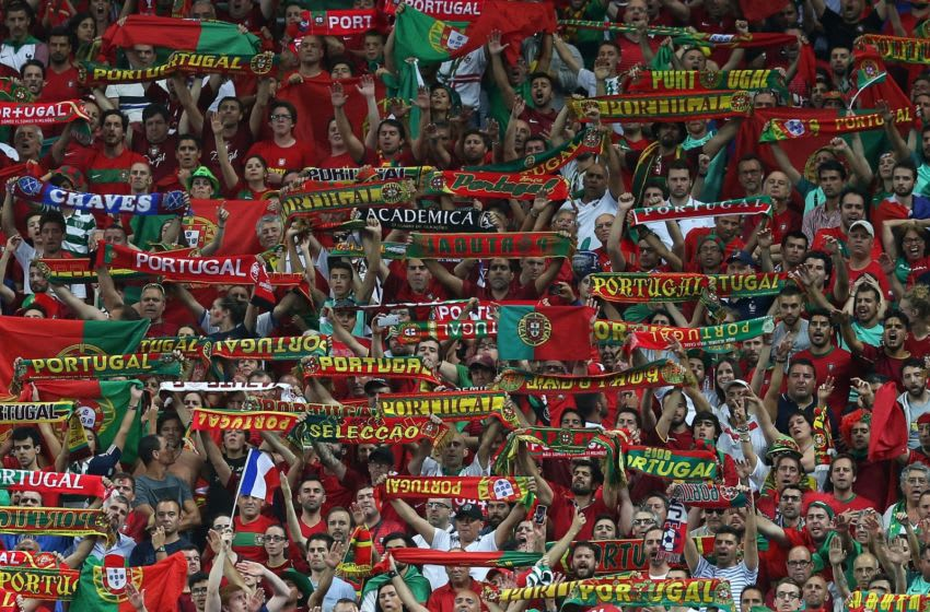 PARIS, FRANCE - JULY 10: Portugal fans display scarves during the UEFA Euro 2016 Final match between Portugal and France at Stade de France on July 10, 2016 in Paris, France. (Photo by Chris Brunskill Ltd/Getty Images)