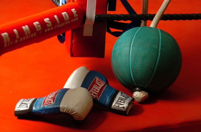 NEW ZEALAND - FEBRUARY 08: Stock Photography. Generic Boxing Image. Everlast boxing gloves and a medicine ball photographed outside a boxing ring. (Photo by Ross Land/Getty Images)