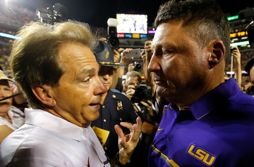 Nick Saban of the Alabama Crimson Tide with Ed Orgeron of the LSU Tigers (Photo by Kevin C. Cox/Getty Images)