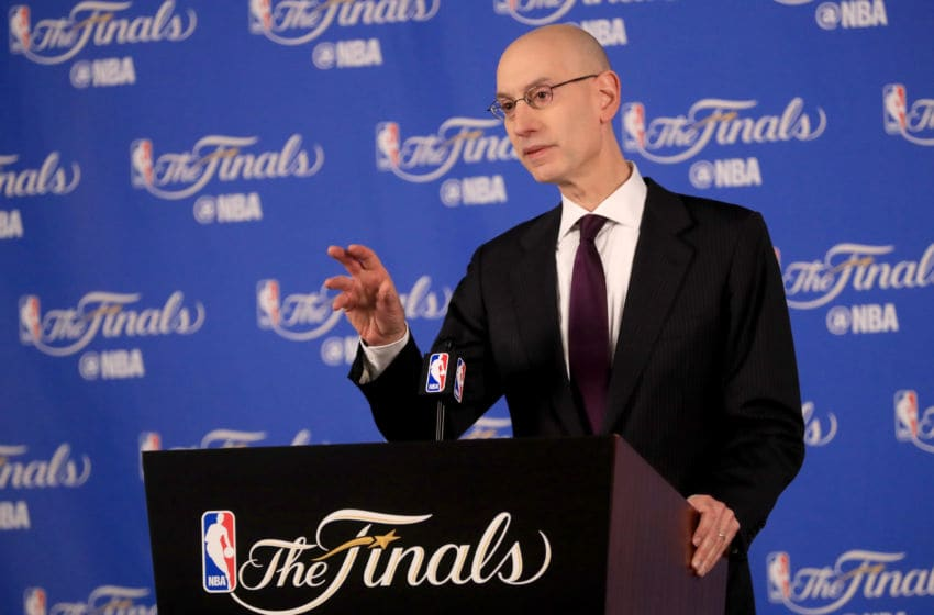 OAKLAND, CA - JUNE 01: NBA Commissioner Adam Silver speaks to the media before Game 1 of the 2017 NBA Finals at ORACLE Arena on June 1, 2017 in Oakland, California. NOTE TO USER: User expressly acknowledges and agrees that, by downloading and or using this photograph, User is consenting to the terms and conditions of the Getty Images License Agreement. (Photo by Ronald Martinez/Getty Images)