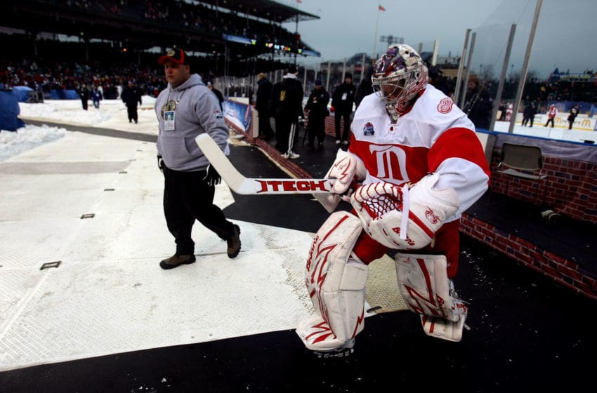 CHICAGO - JANUARY 01: Ty Conklin #29 of the Detroit Red Wings walks off the ice after the Red Wings won 6-4 the Chicago Blackhawks during the NHL Winter Classic at Wrigley Field on January 1, 2009 in Chicago, Illinois. (Photo by Jonathan Daniel/Getty Images)