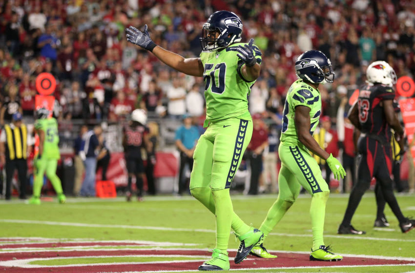 GLENDALE, AZ - NOVEMBER 09: Outside linebacker K.J. Wright #50 of the Seattle Seahawks celebrate a turnover on downs against in the second half of the NFL game against the Arizona Cardinals at University of Phoenix Stadium on November 9, 2017 in Glendale, Arizona. The Seattle Seahawks won 22-16. (Photo by Christian Petersen/Getty Images)