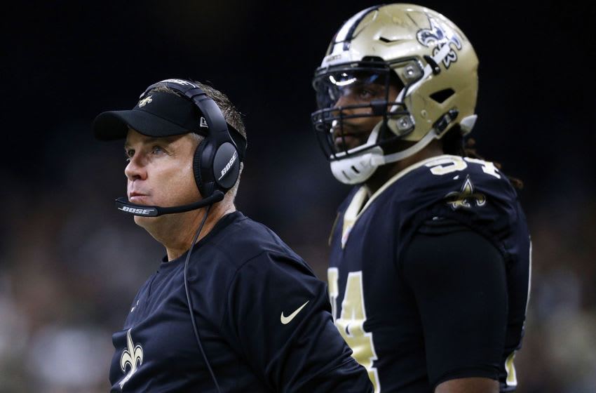 NEW ORLEANS, LA - JANUARY 07: Head coach Sean Payton of the New Orleans Saints and Cameron Jordan #94 during the NFC Wild Card playoff game against the Carolina Panthers at the Mercedes-Benz Superdome on January 7, 2018 in New Orleans, Louisiana. (Photo by Jonathan Bachman/Getty Images)
