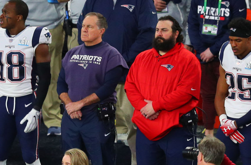 MINNEAPOLIS, MN - FEBRUARY 04: New England Patriots head coach Bill Belichick and New England Patriots defensive coordinator Matt Patricia during the singing of America the Beautiful on the field prior to Super Bowl LII on February 4, 2018, at U.S. Bank Stadium in Minneapolis, MN. (Photo by Rich Graessle/Icon Sportswire via Getty Images)