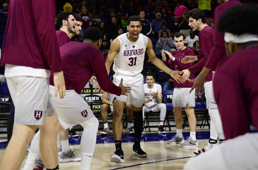 PHILADELPHIA, PA - FEBRUARY 24: Seth Towns #31 of the Harvard Crimson is introduced before the game against the Pennsylvania Quakers at The Palestra on February 24, 2018 in Philadelphia, Pennsylvania. Penn defeated Harvard 74-71. (Photo by Corey Perrine/Getty Images)
