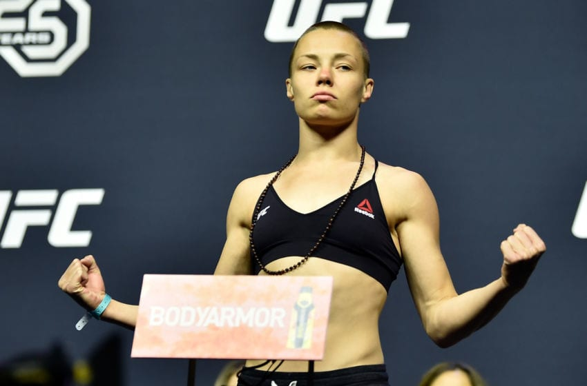 BROOKLYN, NEW YORK - APRIL 06: UFC strawweight champion Rose Namajunas poses on the scale during the UFC 223 weigh-in inside Barclays Center on April 6, 2018 in Brooklyn, New York. (Photo by Jeff Bottari/Zuffa LLC/Zuffa LLC via Getty Images)