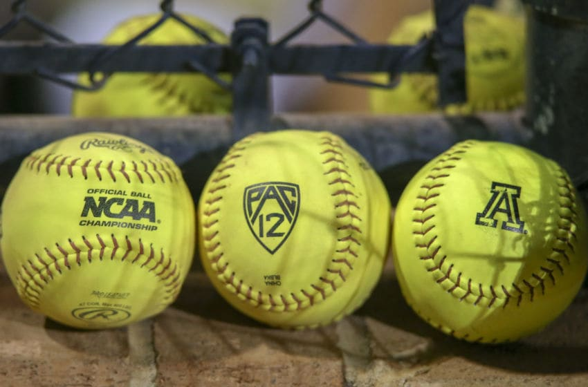 TUCSON, AZ - APRIL 13: Softballs with the NCAA, Pac-12, and Arizona Wildcats logo during a college softball game between the UCLA Bruins and the Arizona Wildcats on April 13, 2018, at Hillenbrand Stadium in Tucson, AZ. UCLA Bruins defeated Arizona Wildcats 7-6. (Photo by Jacob Snow/Icon Sportswire via Getty Images)