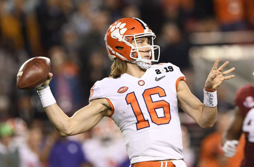 SANTA CLARA, CA - JANUARY 07: Clemson Tigers quarterback Trevor Lawrence (16) during the second half of the Alabama Crimson Tide's game versus the Clemson Tigers in the College Football Playoff National Championship game on January 7, 2019, at Levi's Stadium in Santa Clara, CA. (Photo by David Dennis/Icon Sportswire via Getty Images)