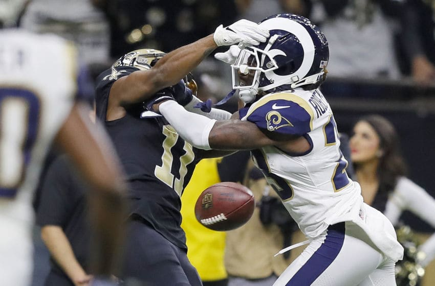 NEW ORLEANS, LOUISIANA - JANUARY 20: Tommylee Lewis #11 of the New Orleans Saints drops a pass broken up by Nickell Robey-Coleman #23 of the Los Angeles Rams during the fourth quarter in the NFC Championship game at the Mercedes-Benz Superdome on January 20, 2019 in New Orleans, Louisiana. (Photo by Kevin C. Cox/Getty Images)