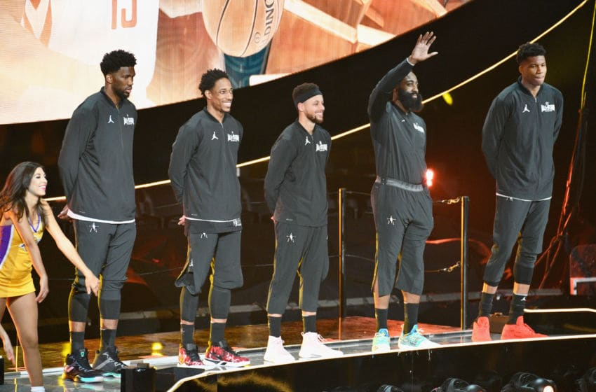 LOS ANGELES, CA - FEBRUARY 18: (L-R) Joel Embiid, DeMar Derozan, Stephen Curry, James Harden and Giannis Antetokounmpo attend the NBA All-Star Game 2018 at Staples Center on February 18, 2018 in Los Angeles, California. (Photo by Allen Berezovsky/Getty Images)