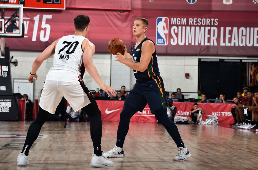 Las Vegas, NV - JULY 7: Tanner McGrew #29 of the Utah Jazz handles the ball during the game against the Miami Heat during Day 3 of the 2019 Las Vegas Summer League on July 7, 2019 at the Cox Pavilion in Las Vegas, Nevada. NOTE TO USER: User expressly acknowledges and agrees that, by downloading and or using this Photograph, user is consenting to the terms and conditions of the Getty Images License Agreement. Mandatory Copyright Notice: Copyright 2019 NBAE (Photo by David Dow/NBAE via Getty Images)